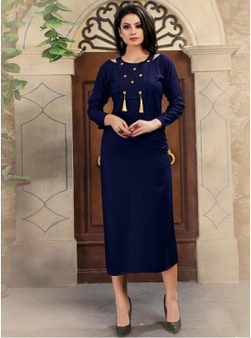 Umang NX Navy Blue Colored Rayon Cotton Stitched Kurtis