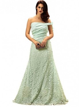 Khwaab Off Shoulder Light Turquoise (Pista) Floor Length Gown