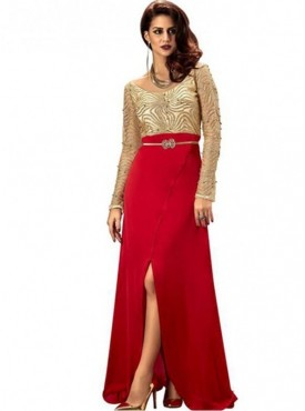 Khwaab Party Wear Sequins Slit Pattern Gown