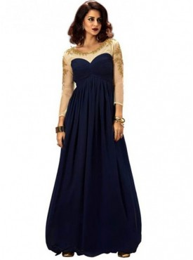 Khwaab Fusion Flared Navy-Blue Gown