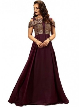 Khwaab Cold Shoulder Plum Colour Floor Length Gown