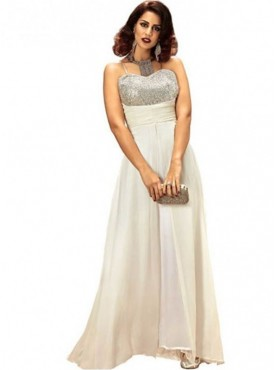 Khwaab Strapless Sweetheart Neck Line Off-White Gown
