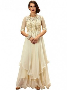 Khwaab Fusion Flared Style Cream Gown