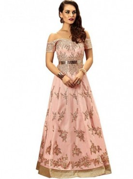 Khwaab Fusion Off Shoulder Blush Pink Gown