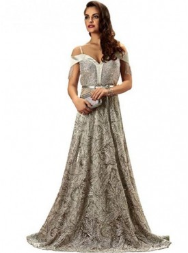 Khwaab Dazzling Floor Length Sequins Silver and Grey Gown