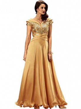 Khwaab Fusion Cross Golden Gown