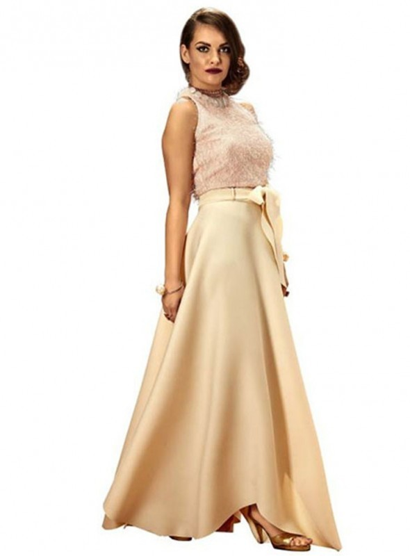 Khwaab Fusion Light Pink Skirt and Crop Top