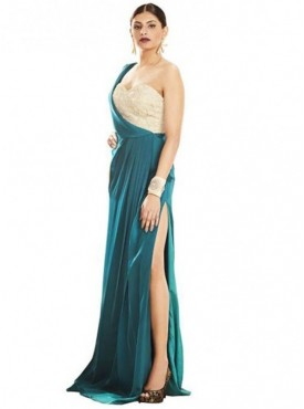 Khwaab One Shoulder Nude Back Long Evening Gown