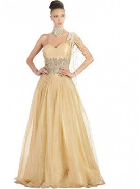 Khwaab Gold Crisscross Backless Evening Gown