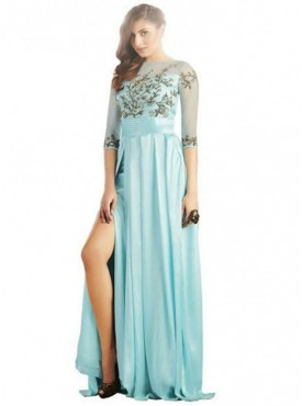 Khwaab Arctic Blue Side Slit Sheath Gown