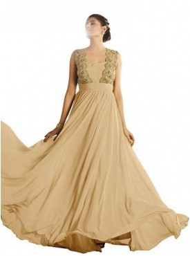 Khwaab Golden Jacket Style Sleeveless Evening Gown