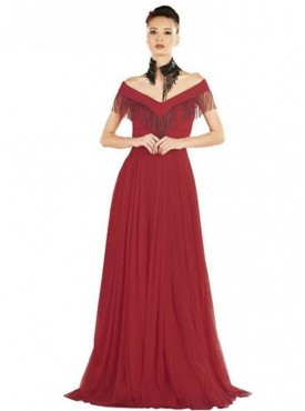 Khwaab Red Cold Shoulder Fringe Prom Gown