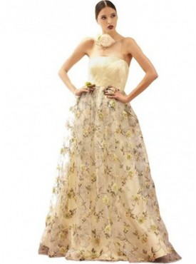 Khwaab Printed Strapless Ball Gown