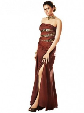 Khwaab FusionStrapless Brown DrapedGown