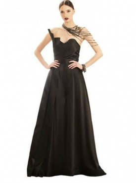 Khwaab Black Pleated Jumpsuit Style Cocktail Gown