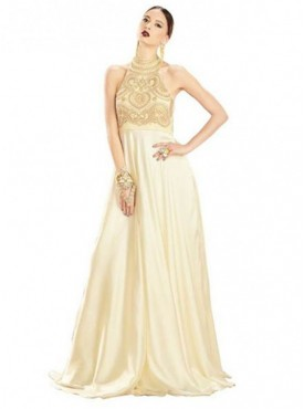 Khwaab Halter NeckLight Yellow Flared Gown