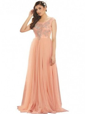 Khwaab Fusion Peach Flared Gown