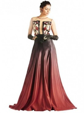 Khwaab Ready to Wear Red Black Shaded Gown