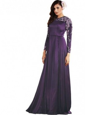 Khwaab Fusion Ready to Wear Satin PurpleGown