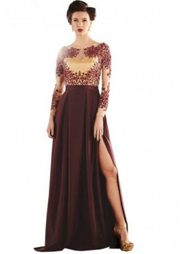 Khwaab Brown Scuba CreasedEvening Gown
