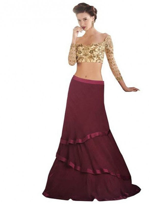 Khwaab Fusion Style Crop Top & Red Skirt