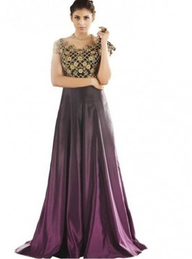 Khwaab Fusion Purple & Black Shaded Gown