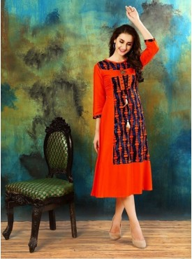 Roykals Textile Orange Color Rayon Designer Readymade Kurti