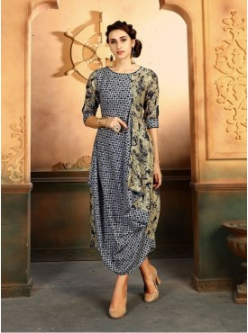 Roykals Textile Beige Color Rayon Designer Readymade Kurti