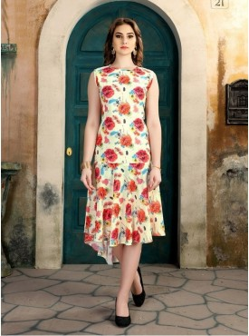 Roykals Textile Multi Color Synthetic Designer Readymade Kurti