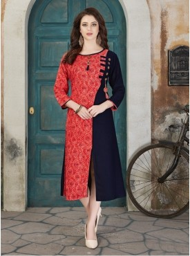 Roykals Textile Red Color Rayon Designer Readymade Kurti