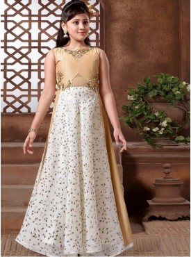 Roykals Textile Off White Color Silk Party wear Readymade Kidswear Gown Style Suits