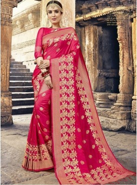 Roykals Textile Pink Color Silk Exclusive Designer Saree