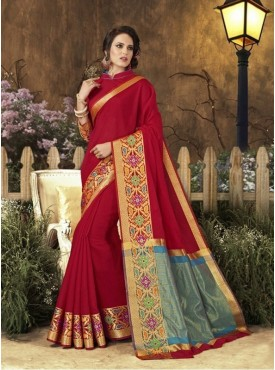 Roykals Textile Red Color Art Silk Traditional Saree