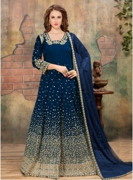 Roykals Textile Blue Color Tafeta Silk Heavy Embroidered Anarkali Suits