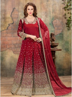 Roykals Textile Red Color Tafeta Silk Heavy Embroidered Anarkali Suits