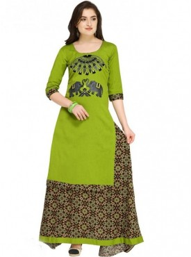 Roykals Textile Green Color Cotton Designer Embroidered & Printed Skirt Suits