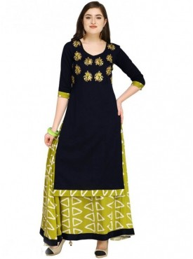 Roykals Textile Navy Blue Color Cotton Designer Embroidered & Printed Skirt Suits