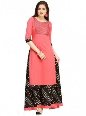 Roykals Textile Peach Color Cotton Designer Embroidered & Printed Skirt Suits