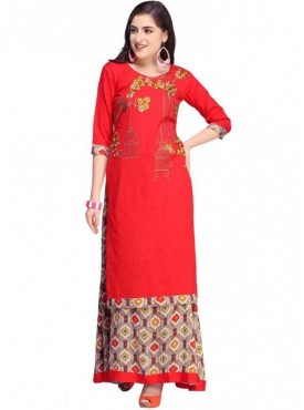 Roykals Textile Pink Color Cotton Designer Embroidered & Printed Skirt Suits