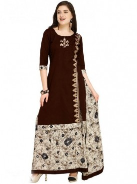 Roykals Textile Brown Color Cotton Designer Embroidered & Printed Skirt Suits