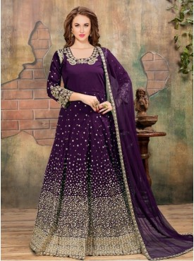 Roykals Textile Purple Color Tafeta Silk Heavy Embroidered Anarkali Suits