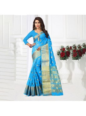 Urban Naari Sky Blue Colored Cotton Silk Weaving Work Saree
