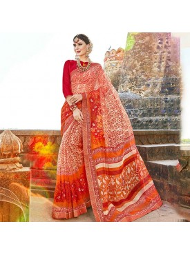 Urban Naari Cream & Orange Net Cotton Printed & Thread Embroidery Saree