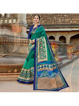 Urban Naari Teal Green Net Cotton Printed & Thread Embroidery Saree