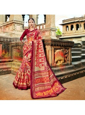 Urban Naari Multi Net Cotton Printed & Thread Embroidery Saree