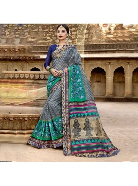Urban Naari Grey Net Cotton Printed & Thread Embroidery Saree