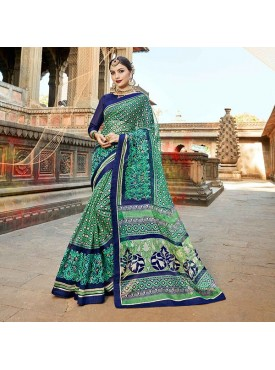 Urban Naari Green Net Cotton Printed & Thread Embroidery Saree