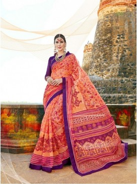 Urban Naari Orange & Pink Net Cotton Printed & Thread Embroidery Saree