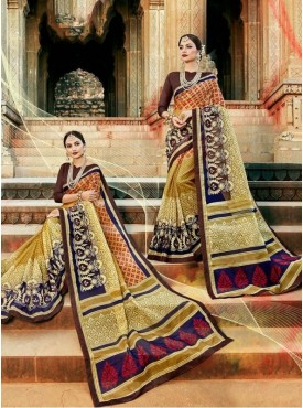 Urban Naari Multi Colored Net Cotton Printed & Thread Embroidery Saree