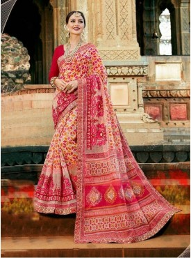 Urban Naari Pink Colored Net Cotton Printed & Thread Embroidery Saree